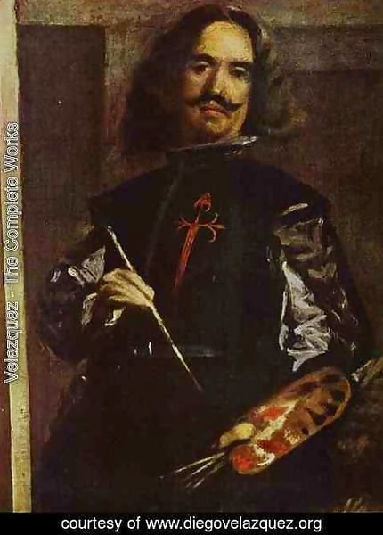 Velazquez - Las Meninas (The Maids of Honor) or the Royal Family. Detail. Self-Portrait