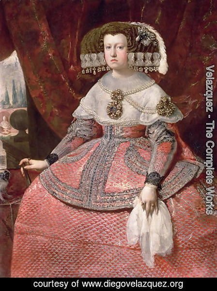 Velazquez - Queen Maria Anna of Spain in a red dress 1655 60