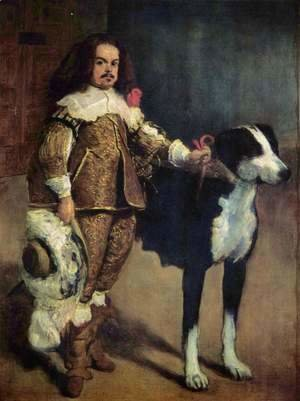 Velazquez - Court jester with a dog