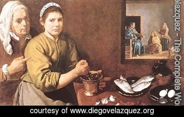 Velazquez - The Christ In The House Of Mary And Mar